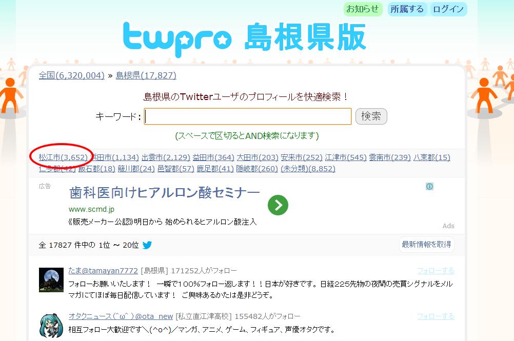ツイプロ島根県版(松江市データ)